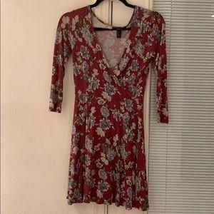 Floral Magenta Long Sleeve Wrap Dress